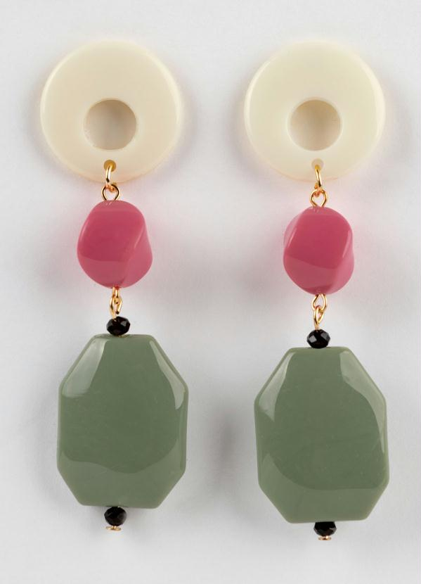 Brinco (Branco Rosa e Verde) com Metal Dourado