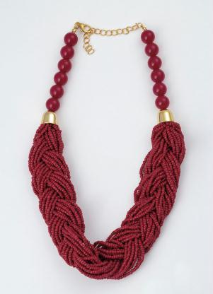 Colar (Vermelho) com Missangas e Metal Dourado