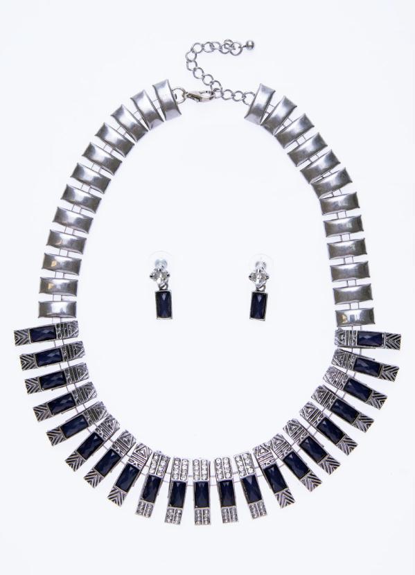 Conjunto com Pedrarias e Textura (Prata e Azul)