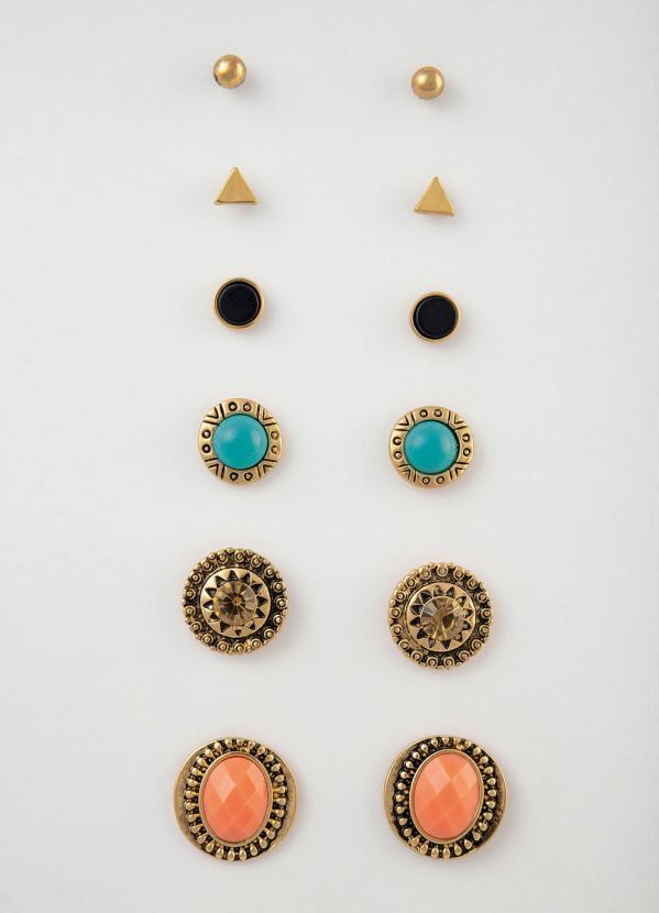 Kit Brincos (Dourado) com Pedras Coloridas