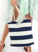 Bolsa de Praia Estampada com Alças de Corda Azul