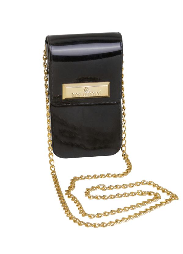 Bolsa (Preta) Lateral com Corrente Dourada