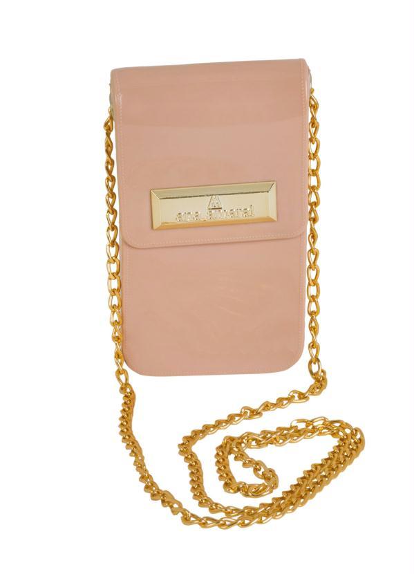 Bolsa (Rosê) Lateral com Corrente Dourada