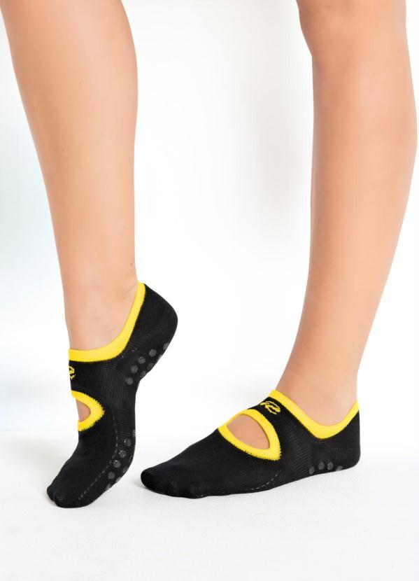 Meia Sapatilha Antiderrapante (Amarela e Preta)