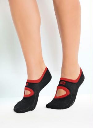 Meia Sapatilha Antiderrapante (Vermelha e Preta)