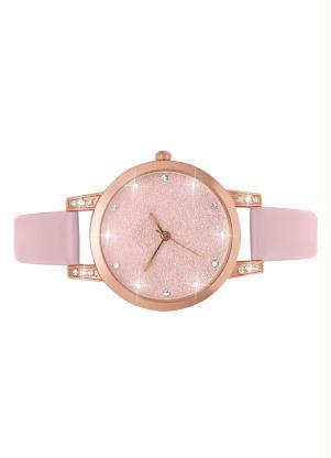 Relógio Redondo Rose com Strass