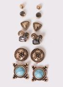 Kit de Brincos com Pedrarias Azul e Dourado
