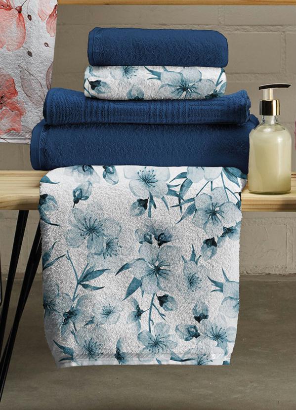 Jogo de Toalhas Floral (Azul) (5 Peças)