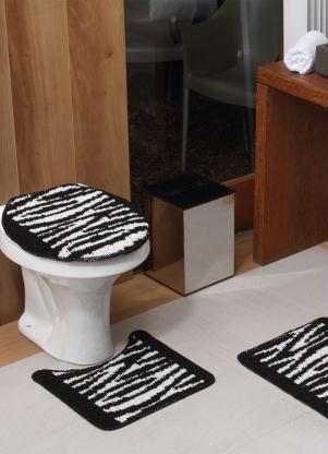 Jogo de Banheiro Zebra Preto (3 Peças)
