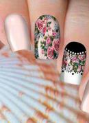 Adesivo para Unha Flores Preto, Branco e Rosa