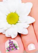 Película para Unha do Pé Floral Roxo