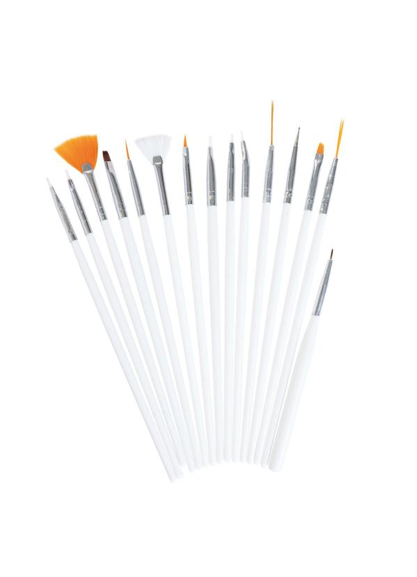 Kit 15 Pincéis Manicure