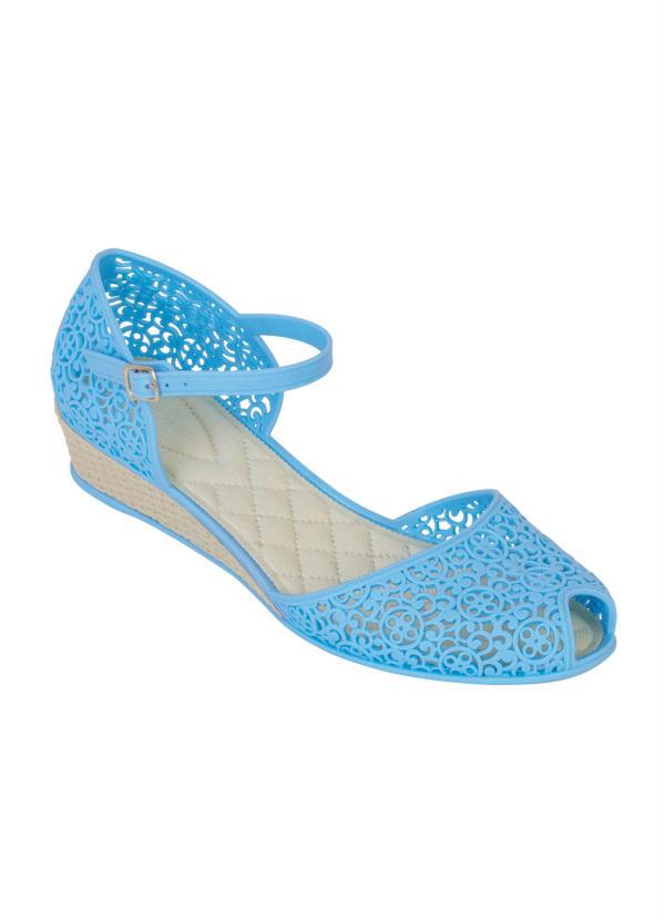Sapatilha Anabela (Azul) com Detalhes Vazados