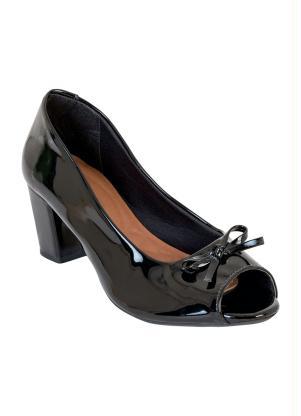 Sapato Peep Toe em Verniz (Preto)