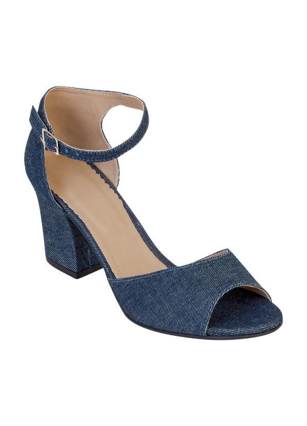 Sandália de Salto Quadrado (Jeans)