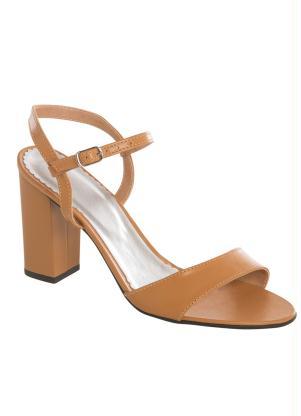 Sandália (Caramelo) Minimalista Salto Quadrado