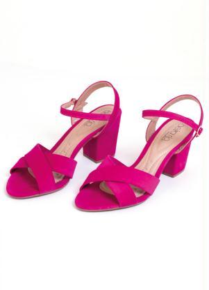 Sandália de Tira (Pink) Salto Blocado Beira Rio