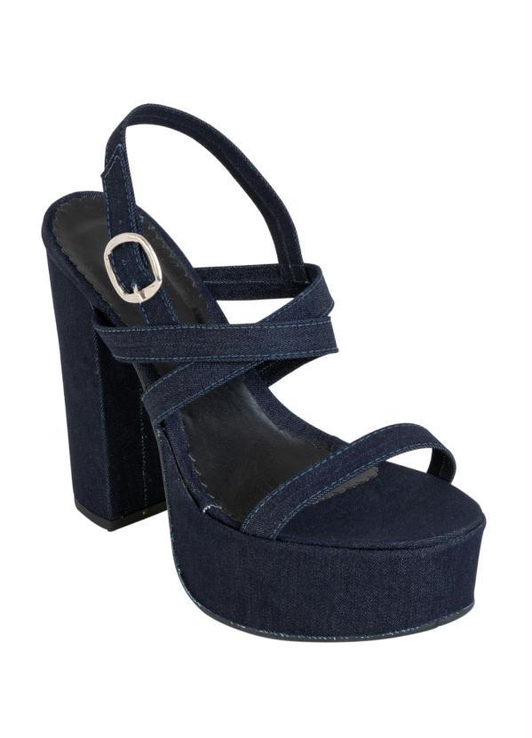 Sandália (Jeans) com Salto Quadrado