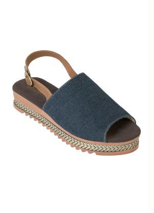 Sandália Plataforma (Jeans) com Fivela