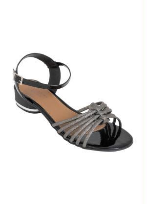 Sandália Salto Baixo (Preta) com Fivela