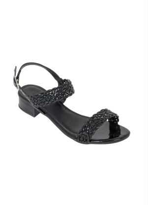 Sandália Salto Baixo (Preta) com Verniz Trançado