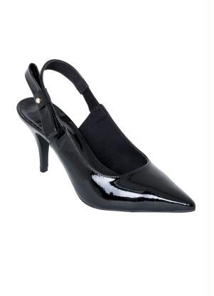 Sapato (Preto) com Verniz e Salto Baixo