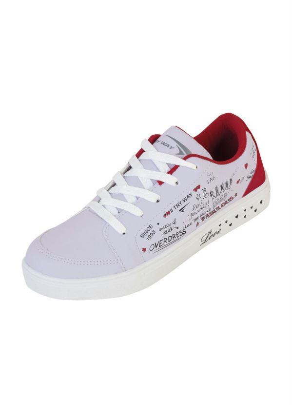 Tênis (Branco com Vermelho) e Estampa Frases