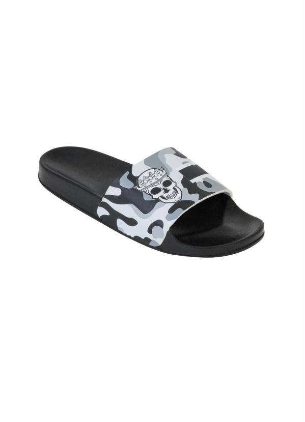 Chinelo Slide (Cinza) com Estampa Camuflada