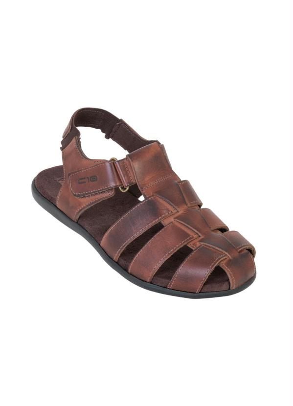 Sandália (Marrom) com Velcro e Elástico