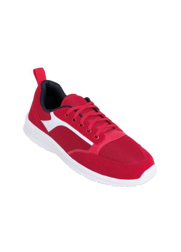 Tênis (Vermelho) em Tecido com Camurça