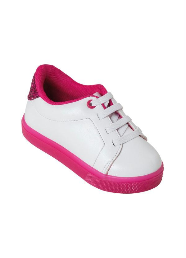 Tênis Molekinha (Branco) com Solado Pink