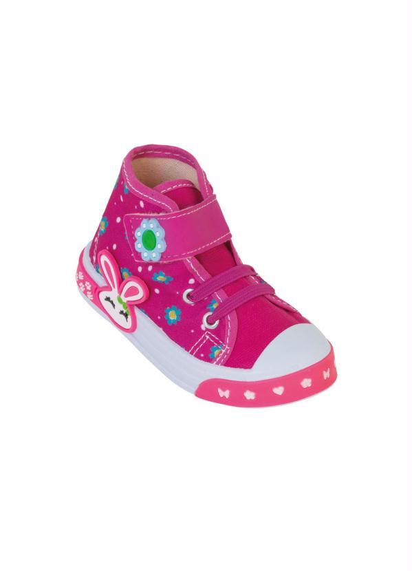 Tênis Infantil Rosa com Elástico e Velcro