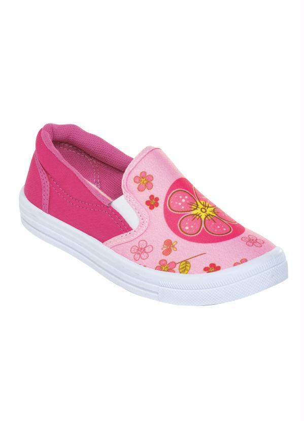 Tênis Infantil Slip On (Pink) com Estampa Floral