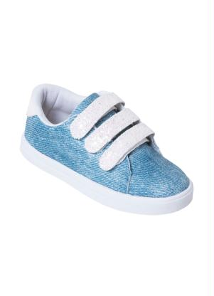 Tênis Infantil (Jeans) com Velcro e Glitter