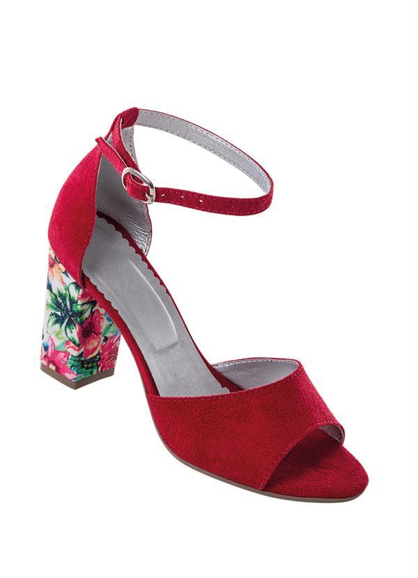 Sandália (Vermelha) com Salto Estampado