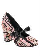 Sapato Detalhe Laço Rosa Estampa Flores