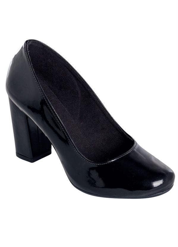 Sapato Envelhecido (Preto) de Salto Quadrado