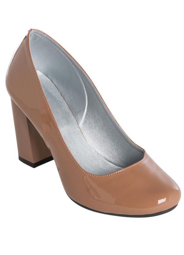 Sapato Envernizado (Nude) de Salto Quadrado