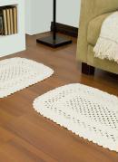 Jogo com 2 Tapetes em Crochê Branco