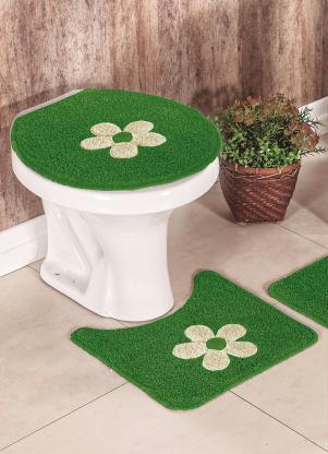 Jogo de Banheiro Cotton Aplique (Verde)