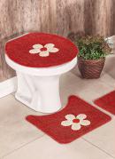 Jogo de Banheiro Cotton Aplique Vermelha