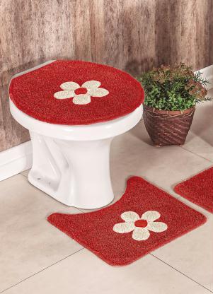 Jogo de Banheiro Cotton Aplique (Vermelha)