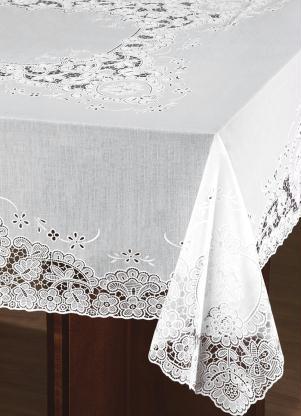 Toalha de Mesa Quadrada (Branca) com Bordado
