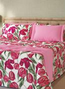 Fronha Estampada Floral Rosa 1 Peça