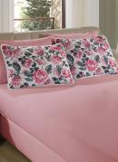 Jogo de Cama Solteiro Floral Rosa em Malha