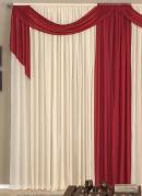 Cortina com Bandô Vermelha e Bege 300 X 230 cm