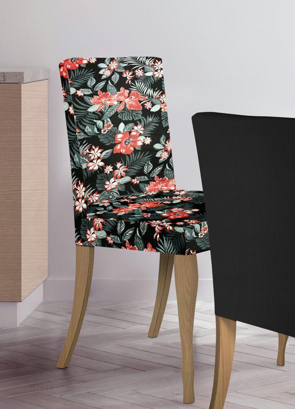Capa de Cadeira Floral (Preta) (1 Peça)