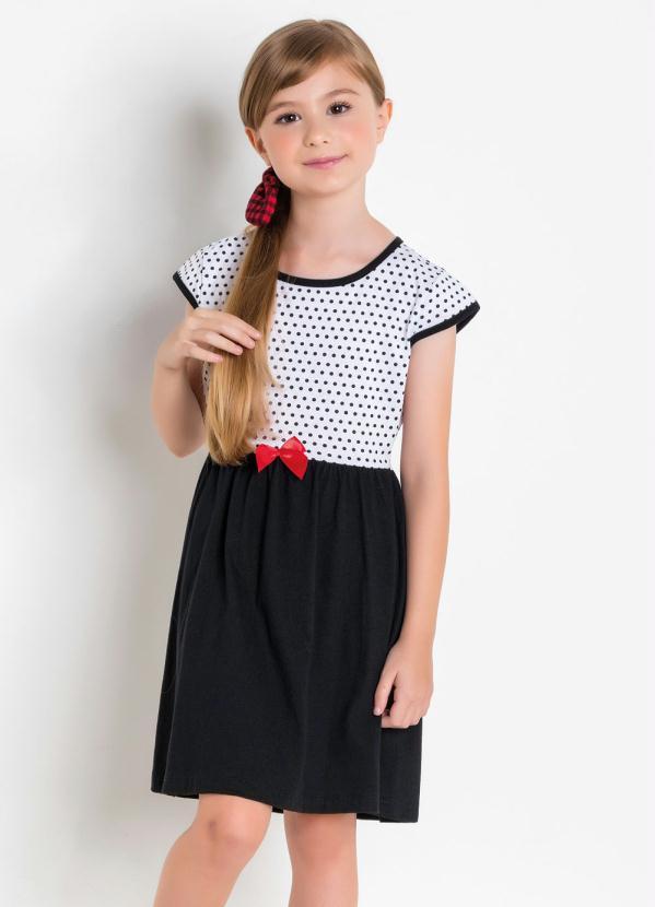 Vestido Manga Curta (Estampa Poá) Infantil