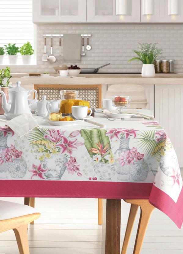 Toalha de Mesa Quadrada Floral (Rosa) (1 Peça)