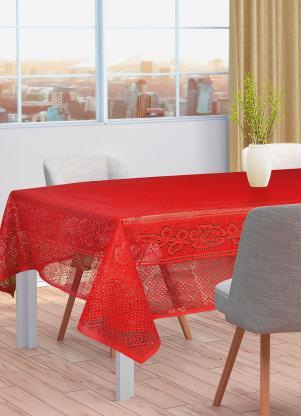 Toalha de Mesa Quadrada (Vermelha) em Renda